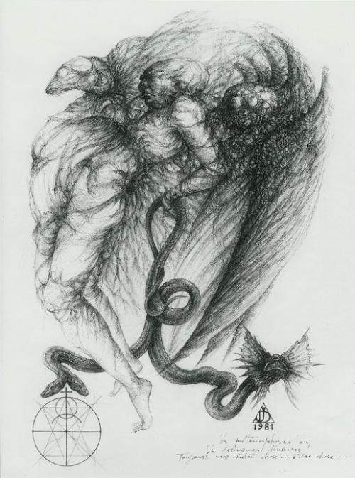 `Les métamorphoses ou les délivrances illusoires` 1981, encre de chine et crayon couleur