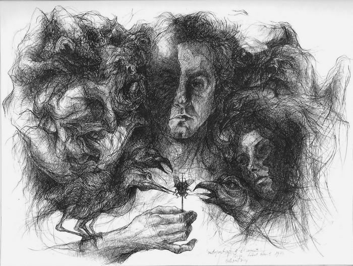 dessin deffontaine, Autoportrait à l`insecte, 1973