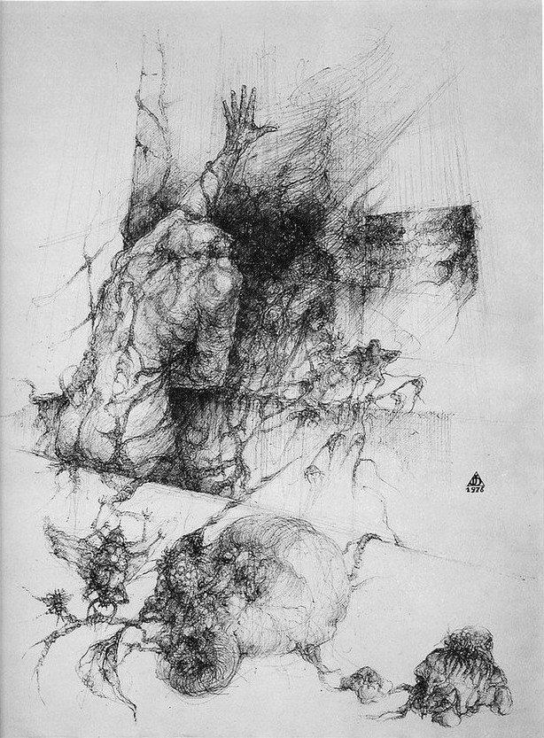 dessin deffontaine, Les racines aveugles, 1976