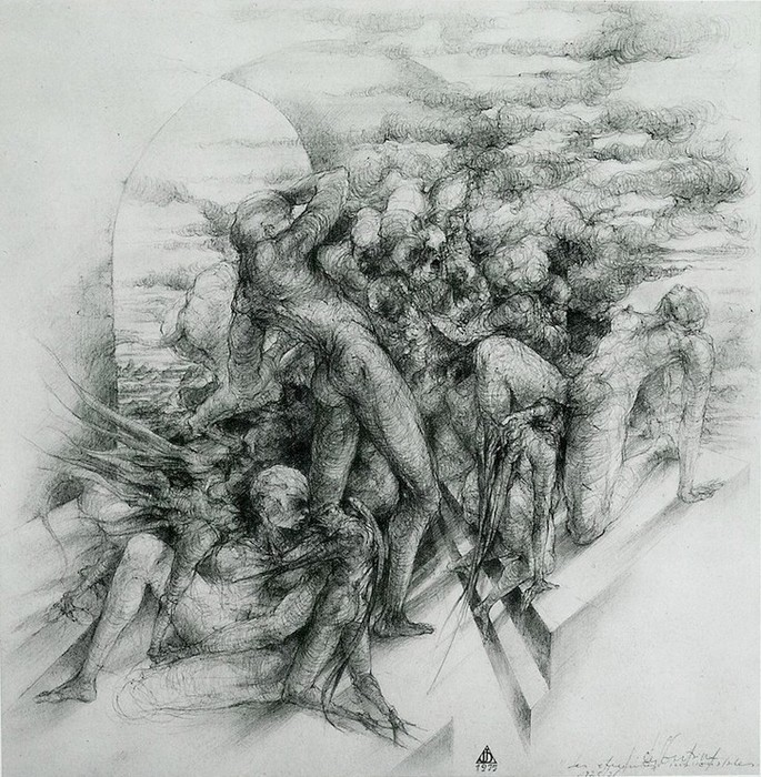 """""""Les étreintes inavouables"""" 46x46, 1976"""