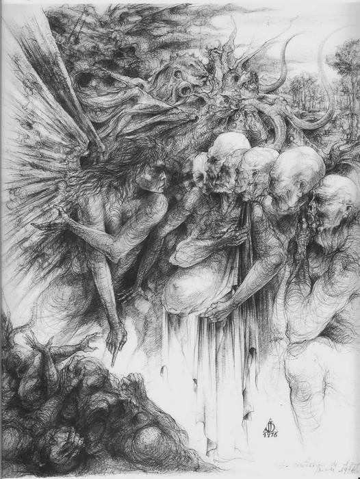 dessin deffontaine, la confession de l`ange, 1976