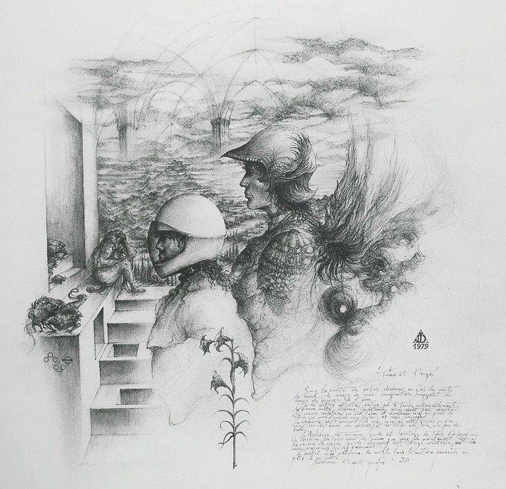 dessin deffontaine `Tobie et l`ange`1979,planche ésotérique VIII