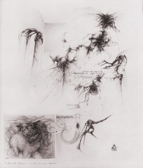 Les fragments dissociés ou vers les univers confondus, 1982, encre de chine et crayons couleurs, 52x44