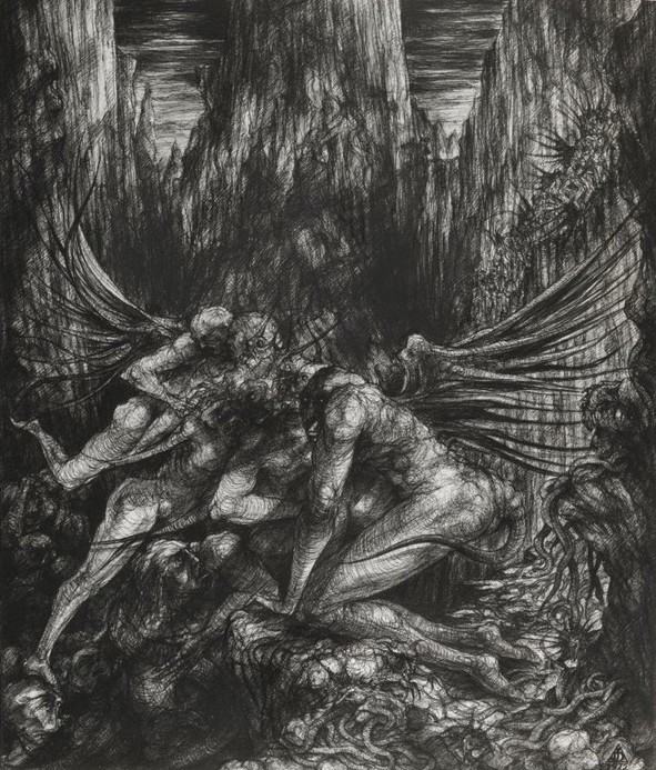 dessin deffontaine, illustration pour `l`enfer de Dante, chant xxv, 1976