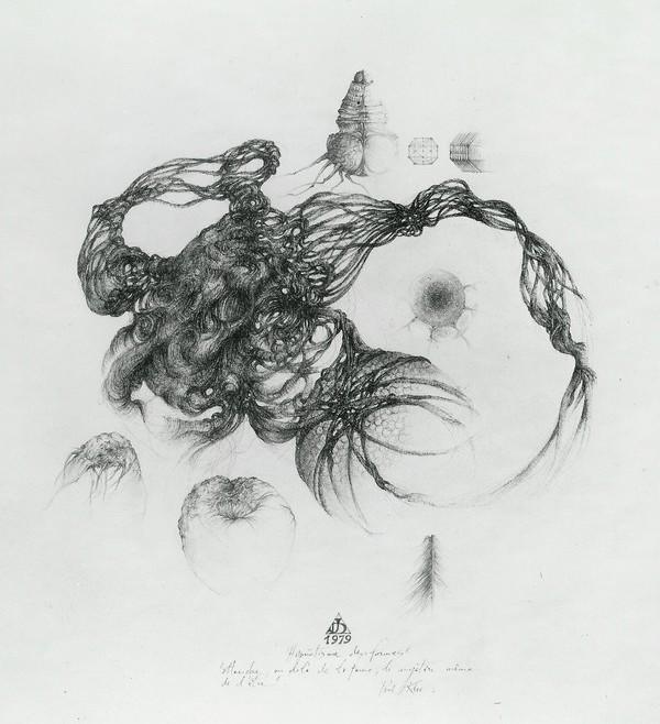 `Hypnotisme des formes` 1979, 50x50 encre de chine et mine de plomb