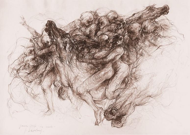 `La cavale` 1975, encre de chine sépia, 51x71