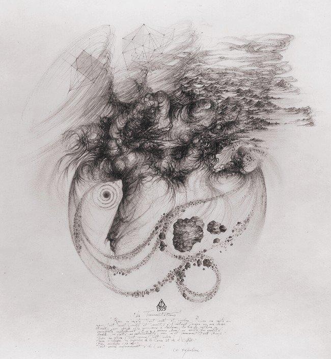 `Les transmutations` 1979, encres de chine noire, sépia et crayon couleur, 50x50