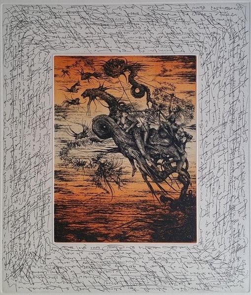 Les cavaliers 1977, gravure