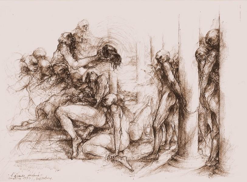 `L`offrande paenne` 1974, encre de chine sépia, 51x71