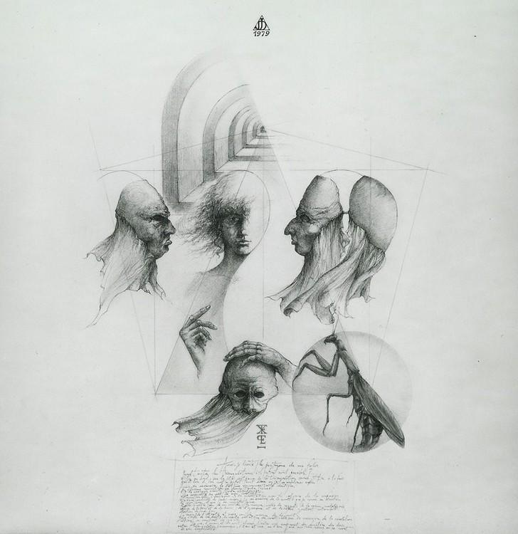 `La mante méssagère` Planche ésotérique VII, encre de chine, mine de plomb rehaussées de crayon couleurs, 50x50