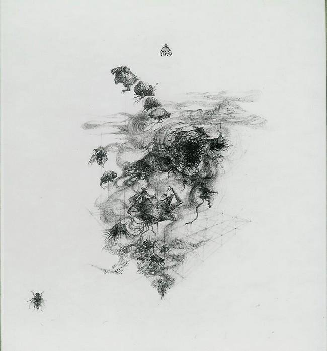 `Un jour, la mouche...` 1979, encre de chine et mine de plomb, 50x50